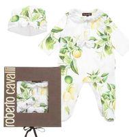 Baby Fruit Fresh Romper Long Sleeve Rompers Suit + Cap White...