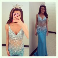 Blue Prom Queen Dresses 2015 Sheer Sexy V- Neck Luxury Crysta...