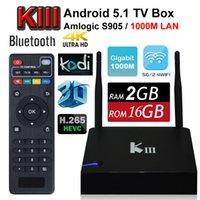 KIII Google Android 5.1 TV Box K3 Amlogic S905 Mini PC 2G 16G Quad Core 2.4 / 5G Wifi 1000M LAN Bluetooth Kodi 3D UHD 4K OTT HDD Media Player
