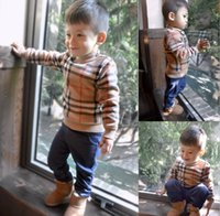 Boys Plaid Crochet Sweater 2015 Spring Children Long Sleeve ...