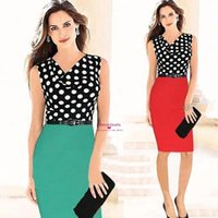 2015 Pencil Polka Dots Knee Length Women Work Dresses Street...