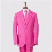 2016 Custom Made Pink Groom Tuxedos Two Buttons Mens Wedding...