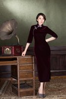 Free Shipping Luxury Pleuche Cheongsam Dress Improves Long D...