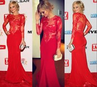 Red Lace Prom Dresses 2014 Sexy Sheer Crew High Neck Illusio...