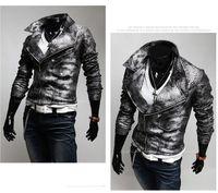 Men Leather Jacket Washed leather crocodile Skin Winter Warm...