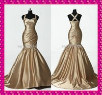 2015 Gold Taffeta Mermaid Prom Evening Dresses Sweetheart Ne...
