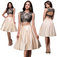 Grace Karin Sexy Two Pieces Short Party Dress Lace Knee Leng...