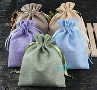 Natural Burlap Linen Fabric Favor Bags Drawstring Pouch Gift...