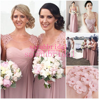 2015 Sheer Neck Long Bridesmaid Dresses Bridal Party Gowns F...