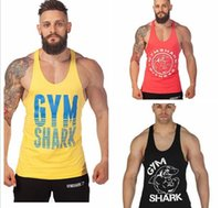 T-shirt do esporte dos homens da camisola de alças do tubarão do Gym t-shirt Bodybuilding do algodão dos Singlets da aptidão dos homens da camisa do t-shirt da luva das partes superiores do músculo da qualidade do hight shippin