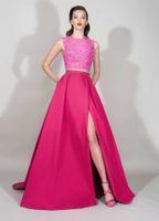 Zuhair Murad Dresses 2016 Fuchsia Sheer Lace Top Two Pieces ...