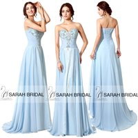 Sky Blue Chiffon Evening Gowns For 2015 Formal Women Sweet 1...