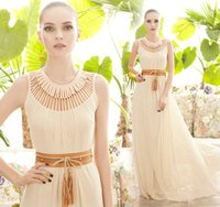 2015 Cheap Ivory Evening Gowns Crew Neckline Long Chiffon Pr...