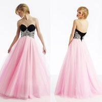 Black and Pink Prom Dresses Corset and Tulle Classic Full Le...