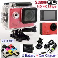 SJ8000 WiFi Спорт камеры 1080P 60fps 16MP Real HD 4K 24fps Водонепроницаемая камера действий + кронштейн автомобиля зарядное устройство 2.0LCD шлем видео DVR
