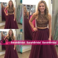 2016 Burgundy Two Pieces Prom Dresses with Long Maxi Tulle P...