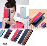 Teléfono celular Flip PU cuero cartera caso cubrir con titular de la tarjeta para Samsung Galaxy E5 E7 A7 A5 A3 S6 S6 edge para Htc One M9 M8 M7