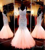 Люкс 2015 Sparkly кристаллы Вечерние платья сексуальные формальные бретельках без спинки выпускного вечера мантии BlingBling блестки бисером русалка девушки платье