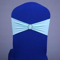 DHLFree couleurs 100 PCS babyblue spandex bandes de chaise en lycra élastique chaise chaise châssis bande avec boucle pour le mariage de plus de 60 couleurs disponibles