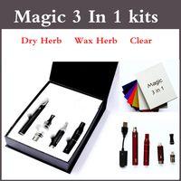 Magic 3 en 1 eGo Starter Kit Cera Herb seco Herbal claro Clásico kits completos con Glass globle wax atomizador skillet kits hierba seca vaporizador