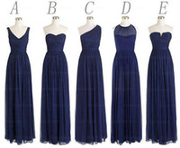 Navy Blue Bridesmaid Dresses 2015 Ruffle A Line Bridesmaid D...