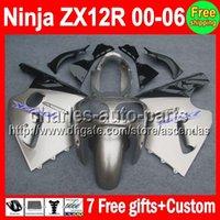7gifts For KAWASAKI NINJA ZX12R 00- 06 Silver black ZX 12R 00...