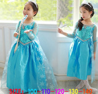 Children Frozen Dress Elsa Girls Princess Paillette Yarn Flo...