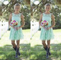 2016 Страна Mint Green Bridesmaids платья Короткие мини кружева вечернее платье для подружек невесты длиной до колен платье для свадебного банкета