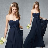 Dark Navy Chiffon Lace Bridesmaid Dresses Sweetheart Necklin...