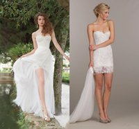 Arabic Two Piece Ivory Lace A Line Wedding Dresses 2015 Stra...
