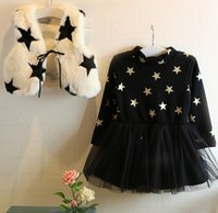 Girls Star Fleece Warm 2pcs Sets Children Clothing Pattern V...