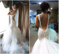 Galia Lahav Lace Mermaid Backless Wedding Dresses 2015 Spagh...