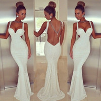 2015 White Backless Mermaid Prom Dresses Sexy Sweetheart Lon...