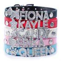 5 Colors Customized Leather Dog Collars Cheap Personalized D...