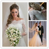 2015 Vestidos De Noiva Wedding Dresses with Long Sleeve Appl...
