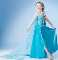 Hot Frozen Elsa Dress with White Cape Girls Cosplay Princess...