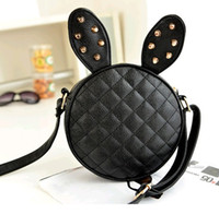Girls Ladies Mini Bag with Rivet Rabbit Bunny Ears Round Bag...