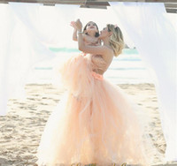 2016 Туту юбка мать дочь платья Коралловый Летний пляж Дешевые Свадебные платья Пушистый Короткие Семья Одежда Бесплатная доставка