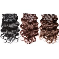 #1#2#4 Cheap Brazilian Body Wave Clip In Hair Extensions Rem...