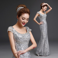 2016 Beaded Sexy Prom Dresses High Quality Silver Shining Lo...