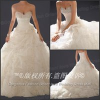 Best Selling white wedding dresses Organza Sleeveless Beaded...