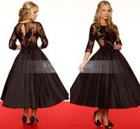 Custom Made Black Chocolate Long Lace Sleeves Tea Length Bal...