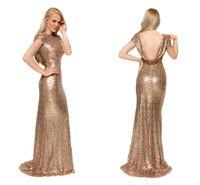 Gold Bling Prom Dresses 2015 Cap Sleeves Sequins Full Length...