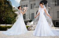 2015 Wedding Dresses Sheer Wedding Dress Illusion Neckline B...
