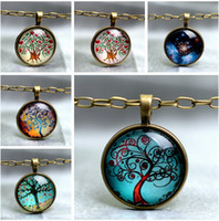 40 Style Fashion Life tree necklace glass colorful pendant n...