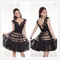 2015 Tarik Ediz Wedding Party Dresses Black Homecoming Dress...