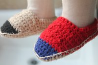 Crochet baby shoes boy girl loafers infant line button booti...