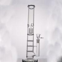 Nouveau verre d'eau bongs 17 pouces huile droite gréements verre tuyau d'eau BONG avec 3 Honeycomb Percolateur 18,8 femme mixte et Bow