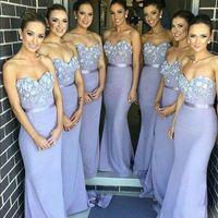 Cheap Appliqued Strapless Bridesmaid Dresses Sleeveless Back...