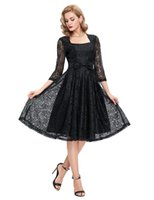 Grace Karin Black 3 4 Sleeve Prom Dress Square Neck Retro Vi...